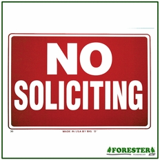 "16"" X 12"" No Soliciting Plastic Sign - #B30"
