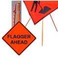 "Forester 48"" Vinyl Professional Grade Work Sign - Flagger Ahead"