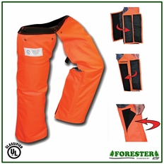 "Forester 35"" Short Wrap Around Slap Chap Velcro Chainsaw Chaps - Orange"