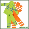 Forester Hi-Vis Lined Class 3 Safety Rain Suit w/ Hood - Orange