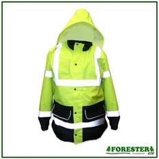 Forester Hi-Vis Long 2 Tone Parka Shell - Safety Green w/ Black Wear Areas