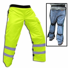"""Forester Safety Green Long 40"""" Apron Style Chainsaw Chaps"""