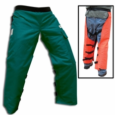 """Forester 40"""" Long Wrap Around Chainsaw Chaps - Green"""