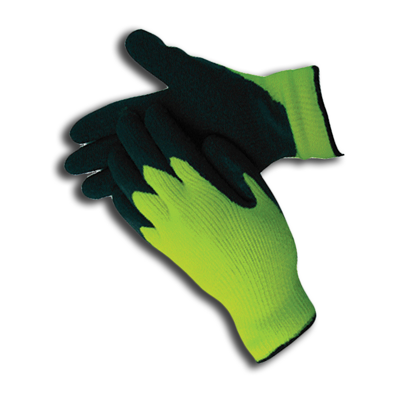 Hi Vis Green Insulated Rubber Palm Winter Work Gloves 685001