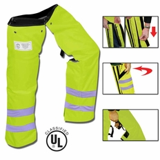 Forester Zipper Style Chainsaw Chaps - Safety Green