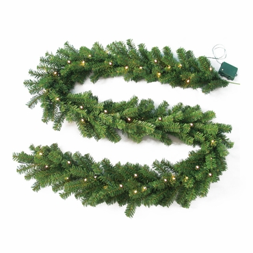 "9' x 10"" Needle Pine Garland 240 Tips 50 Concave Warm Clear LED Lights w/ Battery Operated Timer by Jolly Workshop (MKGL-2)"