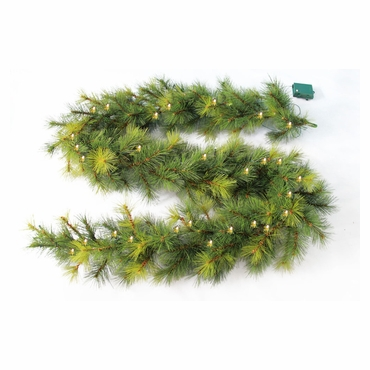 "9' x 10"" Needle Pine Garland 160 Tips 50 Concave Soft White LED Lights w/ Battery Operated Timer by Jolly Workshop (MKGL-1)"
