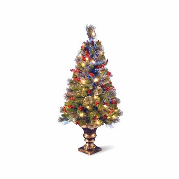 National Tree SZCW7-105-40 4' Fiber Optic Crestwood Spruce Tree w/ Cones, Glitter, Red Berries in Gold Pot