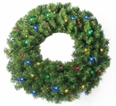 "24"" Pine Wreath 250 tips and 50 Concave Multi-Color LED lights w/ Battery Operated-Timer by Jolly Workshop (MKWR-2)"