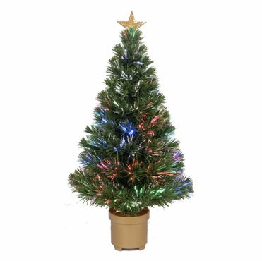 "Jolly Workshop 32"" Multi-Color LED Fiber Optic Tree Top Star 80 Tips 9 Ply w/ Gold Base (MK32-1)"