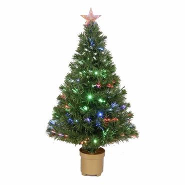 "Jolly Workshop 36"" Multi-Color LED Fiber Optic Tree Top Star 125 Tips 11 Ply 20 LEDs w/ Gold Base (MK36-3)"