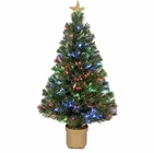 "Jolly Workshop 36"" Multi-Color LED Fiber Optic Tree Top Star 125 Tips 11 Ply w/ Berries & Gold Base (MK36-1)"