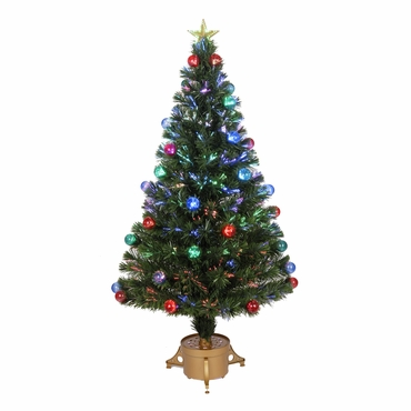 "Jolly Workshop 48"" Multi-Color LED Fiber Optic Tree Top Star 165 Tips 14 Ply w/ Balls & Gold Base (MK48-2)"