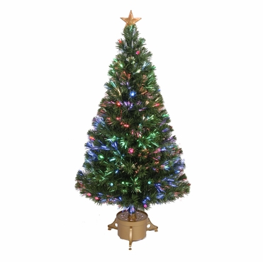 "Jolly Workshop 48"" Multi-Color LED Fiber Optic Tree Top Star 165 Tips 14 Ply w/ Berries & Gold Base (MK48-1)"