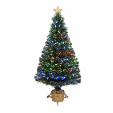 "Jolly Workshop 48"" Multi-Color LED Fiber Optic Tree Top Star 175 Tips 14 Ply w/ Gold Base (MK48-3)"