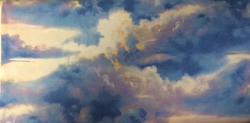 Dk Blue Sky with Clouds - Wilmington Prints