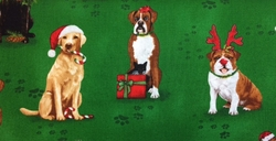 Robert Kaufman HOLIDAY CATS & DOGS (Green)