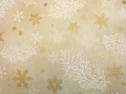 Robert Kaufman - Holiday Flourish 9 - Snowflakes and Pine (Natural)