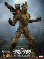 Hot Toys Guardians of the Galaxy Rocket and Groot 1/6 Scale Figures