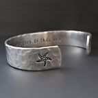 Personalized Hand Stamped Silver Starfish Bracelet