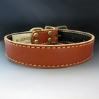 Tan Stitched Leather Dog Collar {1 inches wide}