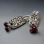 Silver Coral Earring with Ruby Gemstones