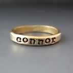 Gold Brass Personalized Stacking Name Ring