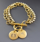 Gold Initial Charm Bracelet - Hand Stamped