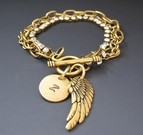 Gold Initial Charm Bracelet with Angel Wing Charm