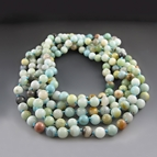 Long Green Gemstone Beaded Necklace {80 inches}