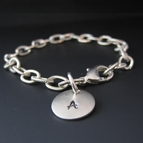 Hand Stamped Silver Initial Charm Bracelet