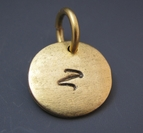 Handstamped Antiqued Gold Initial Charm - 1/2 inch