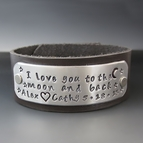 Personalized I Love You To The Moon & Back Leather Cuff