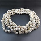 Long White Turquoise Beaded Necklace {80 inches}
