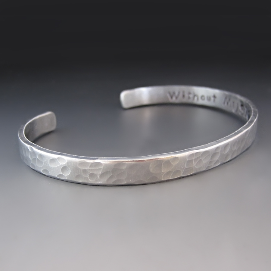 s personalized thin silver cuff bracelet