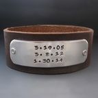Men's Save The Date Leather Cuff {1 1/4 inches wide}