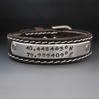 "Custom Hand Stamped Leather Buckle Bracelet {3/4"" Wide}"