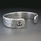 Personalized Silver Anchor Cuff Bracelet