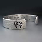 Personalized Hand Stamped Silver Angel Wing Bracelet