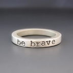 Brushed Metal Personalized Stacking Ring {Sterling Silver}