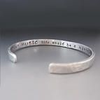 Thin Personalized Silver Hand Stamped Bracelet