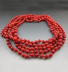 Long Red Coral Beaded Necklace {80 Inches}