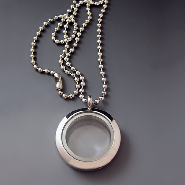 Silver Stainless Steel Glass Charm Locket Necklace - Medium