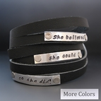 She Believed She Could So She Did Leather Bracelet