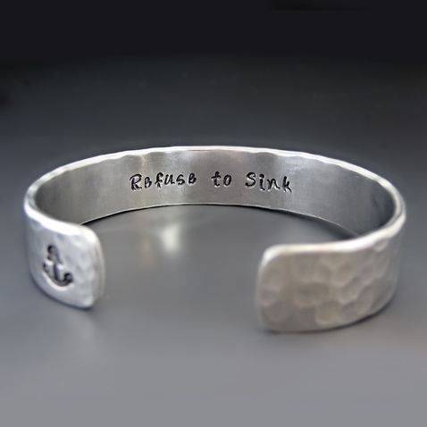 Silver Refuse To Sink Cuff Bracelet {Anchor Image}