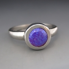 Silver Synthetic Purple Opal Stacking Ring
