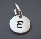Small Round Sterling Silver Initial Charm