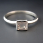 Sterling Silver Square Rose Quartz Stacking Ring