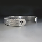 Custom Silver Cross Cuff Bracelet