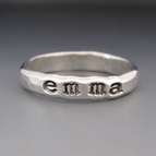 Personalized Hand Stamped Stacking Ring {Silver Silver}